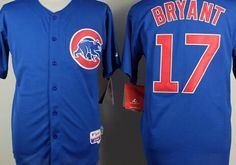 """$35.00 at """"MaryJersey""""(maryjerseyelway@gmail.com) Chicago Cubs 17 Kris Bryant Blue Cool Base Stitched Baseball Jersey"""