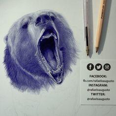 ✍ [S08X16:31] #Drawing #Ink #Bear #Grizzly #rafaelxaugusto