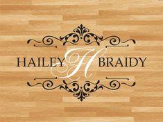 Wedding Ideas Wedding Dance Floor Decal Bride Groom Names & Initial Dance Floor Wedding, Home Wedding, Wedding Ideas, Floor Decal, Monogram Design, Vinyl, Step By Step Instructions, Bamboo Cutting Board, Personalized Wedding