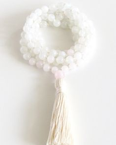 Moonstone Mala Necklace Authentic 108 Buddhist Mala by BBTresors