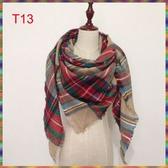 Wholesale triangle winter cuadros acrylic cashmere bufandas tartan plaid scarf brand desigual blanket shawl for Lady Women Girl