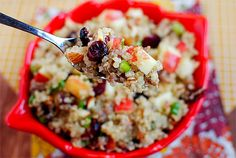 Apple Almond Quinoa with Maple Sausage. This would be good for Thanksgiving - maybe in place of stuffing? I would make with chicken or turkey sausage.