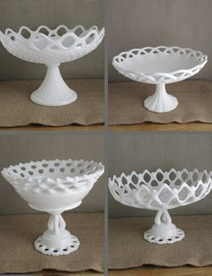 Lace Edged Milk Glass Compotes