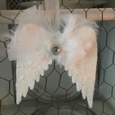 How To Make Angel Wings Christmas Ornaments- Our Crafty Mom. Hello and welcome to Our Crafty Mom! I am excited to be participating in the 12 Days of. Farmhouse Christmas Ornaments, Memorial Ornaments, Painted Christmas Ornaments, Hand Painted Ornaments, Handmade Ornaments, Christmas Angels, Christmas Crafts, Christmas Booth, Burlap Ornaments