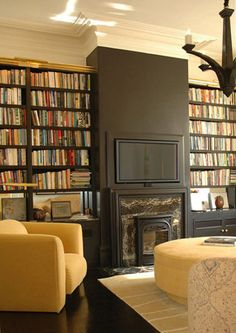 I love this way of blending the television into the wall - and my husband would love all of the built-in bookshelves surrounding it! Now, if they only gave a clue as to where to park the DVR, Blu-ray player, DVD player, Wii console, etc., etc.