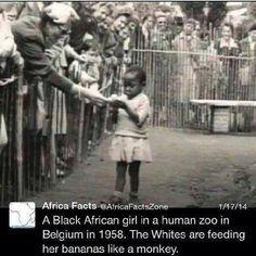 アフリカの事実  1958年のベルギーで黒人のアフリカ少女が人間動物園で。白人たちはサルに対するように少女にバナナを食べさせている。  ベルギーはコンゴという広大な植民地を持っていたからです。