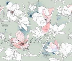 Magnolia fabric by j___ on Spoonflower - custom fabric