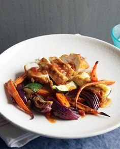Roast Chicken with Zucchini, Carrots, and Onions Recipe on Yummly