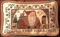 "This cross stitch pattern is from the Cinnamon Stick Series and is titled ""Santa XVIII Wishing Thee Merriness and is by designer Homespun El..."
