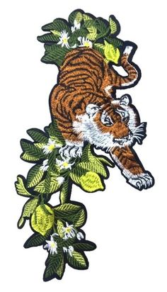 Tiger patch sew on patch Embroidered patch Applique  Size : 29 cm X 15 cm  Quantity : 1 patch