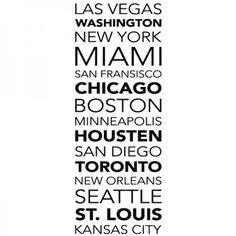 Dieses USA Städte Banner ist für jeden perfekt, der sich für die USA begeistern kann. #USA #Städte #Banner #Wadeco // http://www.wadeco.de/banner-usa-staedte-wandtattoo.html