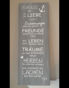 """Schild """"zu Hause"""" aus Holz Maße: ca. 80 cm x 30 cm dungelgrau Das Holz wurde mi. 80 cm x 30 cm dungel gray The wood was painted with gray paint and the white vinyl saying was cut out with a cutting Cheap Home Decor, Diy Home Decor, Most Beautiful Gardens, Vinyl Quotes, Wood Sizes, Grey Paint, White Vinyl, Made Of Wood, Wooden Signs"""