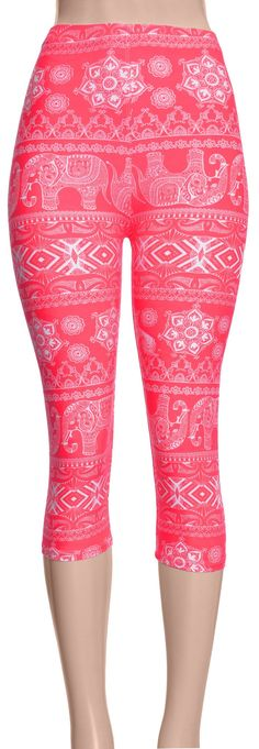 Printed Brushed Leggings - Bohemian Bubble Gum
