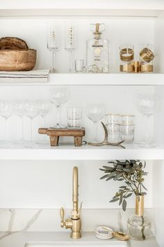 Modern Farmhouse Open Bar Shelving Bar open shelving filled with new and old glass and drinkware Glass Shelves In Bathroom, Kitchen Shelves, Glass Bar Shelves, Bathroom Wall, Wall Shelves, Home Renovation, Kitchen Living, Kitchen Decor, Open Kitchen