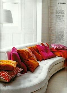 I love the idea of these brights on a white couch (which I happen to have).