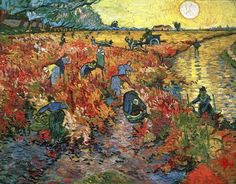 "Painting shown at Les Vingt Exhibition in Brussels. 18 January - 23 February 1890  ""The Red Vineyard"" (Arles. November, 1888) [F495] (one of the few artworks Vincent had sold during his lifetime)"