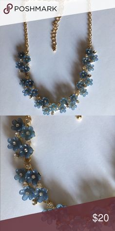 Perfect Petals Blue & Gold Necklace with extender Perfect Petals Blue & Gold Necklace with extender Jewelry Necklaces