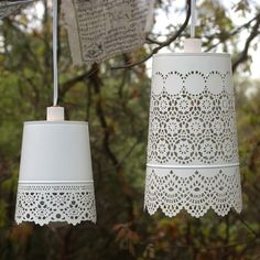 Shabby chic style white lace hanging lamp  by KnuckleheadKnobs, $34.95