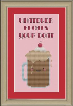 Whatever floats your boat cute root beer by nerdylittlestitcher, $3.00
