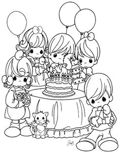 Precious Moments Coloring Page Happy Birthday Party Precious