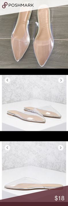 "Clear Pointed Toe Mules Details: NWT A pair of clear flats featuring a pointed toe, metallic foot bed, and a slip-on style. Content + Care - Padded insole, textured outsole - Upper: 100% PVC - Lining 1: 100% polyurethane - Made in China Size + Fit - Heel height: 0.25"" - Platform: 0.1875"" Shoes Flats & Loafers"