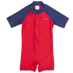 Love this! at Polarn O. Pyret UK & Ireland BABY UV ALL-IN-ONE SWIMSUIT #polarnopyretuk #qualitychildrensclothes #colourfulkidsclothes Take a look at our UV sunsafe swimwear for babies. Red and blue all-in-one baby swimsuit with short sleeves. Sun safe UV baby swimwear made from breathable UPF 50+ fabric to block out 98% of the sun's harmful rays.