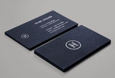 Hume Atelier black board business card with silver block foil detail designed by Glasfurd & Walker.
