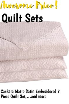 Caskata Matte Satin Embroidered 3 Piece Quilt Set, Queen, Blush ... (This is an affiliate link) #quiltsets