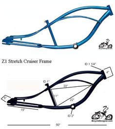 """Inlcudes:Z1 STRETCH Cruiser frame BLUE  This frame can use the following wheels and forks.24"""" or 26"""" rear wheel with up to 3"""" wide tire  26"""" springer bent or straight fork and a 22.2mm headset Chopper fork with a 1"""" triple tree and a 1"""" threadless headset"""