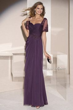 Elegant Evening Gown with Lace Short Sleeves 29580