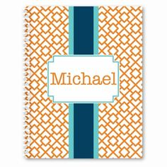 Reverse Squares Personalized Spiral Paper Notebook - CHOOSE YOUR COLORS! - GirlyTwirly.com