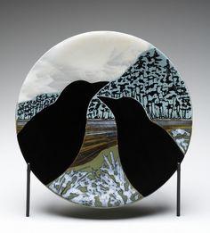 blackbirds in winter-another lauri wilson creation...love the birds... ilwacoglass.com