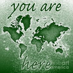 World Map Novo Square with 'You Are Here' text in Green by elevencorners. World map wall print decor. #elevencorners #mapnovo