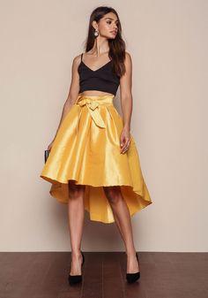 Golden Glossy Midi Flare Skirt - LoveCulture.com