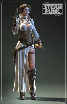 Steampunk Leia. That is an awesome crossover. (I'd love to see other models do this. The sketches are cool. This is terrific!)