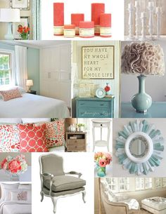 Master bedroom inspiration board : blue, aqua, teal and coral