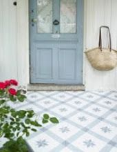 Blue and White Cement Tile and Vinyl Flooring Options Cement Tile Floor, Mirror Interior, Cement Tile, Flooring, White Tile Floor, Deck Tiles, Flooring Options, Blue And White, Vinyl Flooring
