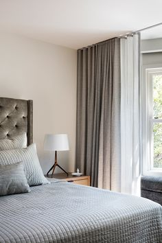 Kim Lambert Design Home Design Living Room, Master Bedroom Design, Home Office Design, Dream Bedroom, Home Interior Design, Home Curtains, Curtains With Blinds, Ceiling Curtains, Bedroom Decor