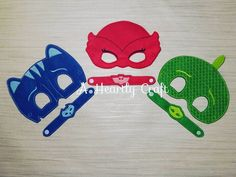 Party Pack PJ Mask Masks and Bracelets - Party favors - Birthday Gift - Party Bag - Halloween Mask - Owlet Mask - Catboy Mask - Gecko Mask by AHeartlyCraft on Etsy
