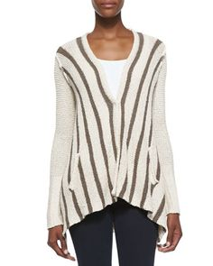 Striped+Drape-Back+Cardigan+by+Free+People+at+Neiman+Marcus.