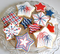 of July (USA Independence Day) Cookies by Kelley Hart Custom Cookies (cookie decorating party shape) Star Cookies, Fancy Cookies, Iced Cookies, Cute Cookies, Cookies Et Biscuits, Summer Cookies, Holiday Cookies, Valentine Cookies, Birthday Cookies