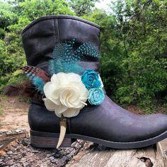 Boot Bracelet Boot Band Lace Bone Horn Flower by BootsandBobbles, $24.99