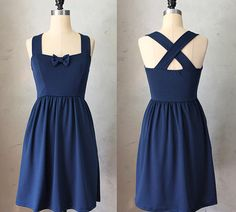 SWEETHEART - NAVY - Dark blue vintage inspired jumper dress // nautical // retro // bridesmaid // pinup // bow // criss cross straps