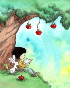 Brunette Girl Reading to Bunny Under Apple by TheExtentofSilence