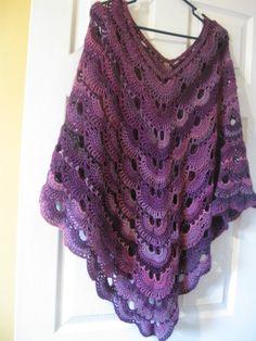 Crochet virus poncho purple poncho made to order by reddesertrose