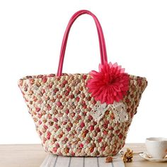 Fashion Trend 2017 Summer Beach Bag Nature Corn Husk With Calico Weaving Shoulder Bag Women Ladies Travel Tote Bolsas