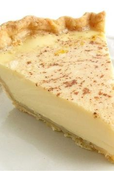 Custard Pie-rich/tender filling of cream, eggs, and vanilla, with a hint of nutmeg, nestled in a buttery crust.