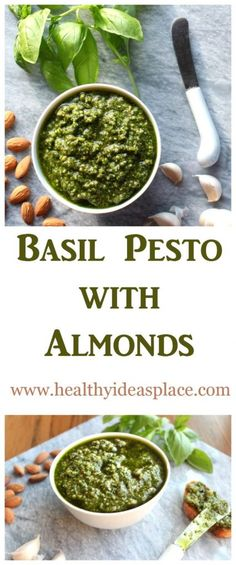 Basil Pesto with Almonds - Tasty and filled with healthy fats, you can stir it…