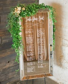 Wedding signage: hand lettered mirror seating chart with leafy garland - mirror frame on easel Denver wedding rental Mirror Seating Chart, Table Seating Chart, Seating Chart Wedding, Wedding Party Favors, Wedding Table, Diy Wedding, Dream Wedding, Wedding Ideas, Wedding Souvenir