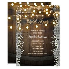 Wooden Barrel Carved Heart Lights Bridal Shower Card - romantic wedding gifts marriage party idea cyo custom